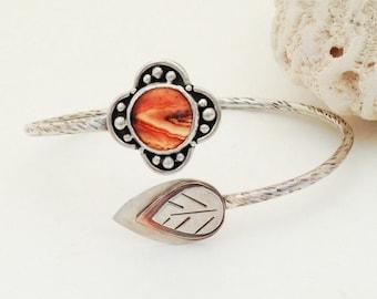 Adjustable Orange Agate Medium Large Sterling Silver with Copper Bracelet, Boho Chic, Entwined Leaf and Flower Bracelet Mixed Metal Bohemian