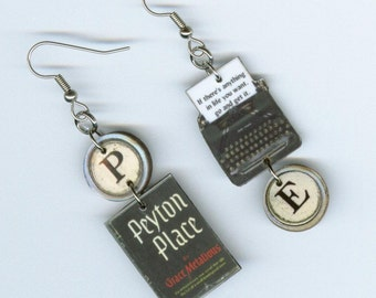 Book cover Earrings - Peyton Place Grace Metalious - Banned books Week - typewriter quote jewelry - literary librarian readers student gift
