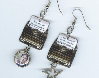 Typewriter Earrings - Oscar Wilde quote - literary readers book club gift - typewriter jewelry - mismatched earring Designs by Annette