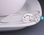 Home Bracelet, Massachusetts State Jewelry, Personalized Boston Mass Jewelry, State Pride, Bangle Bracelet