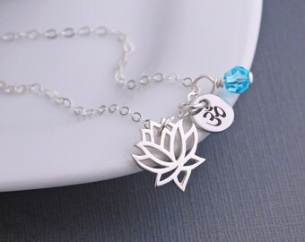 Custom Lotus Necklace, Yoga Jewelry, Sterling Silver Lotus Flower Necklace, Om, Wellness Jewelry, Spiritual Gift