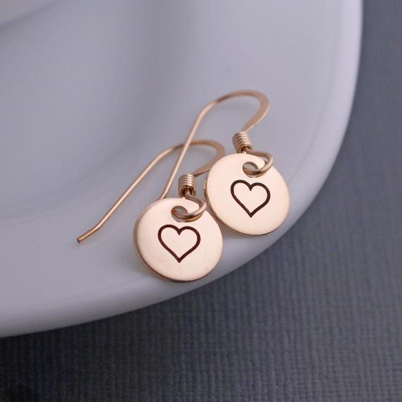 Heart Earrings, Heart Earrings, Short Earrings, Simple Earrings, Gift for Girlfriend