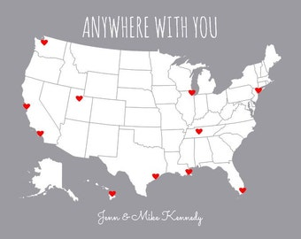 Personalized Boyfriend Gift, Travel Map, Gifts for Him, USA Map Travel Decor, Anywhere With You, United States Map, DIY Gift for Girlfriend