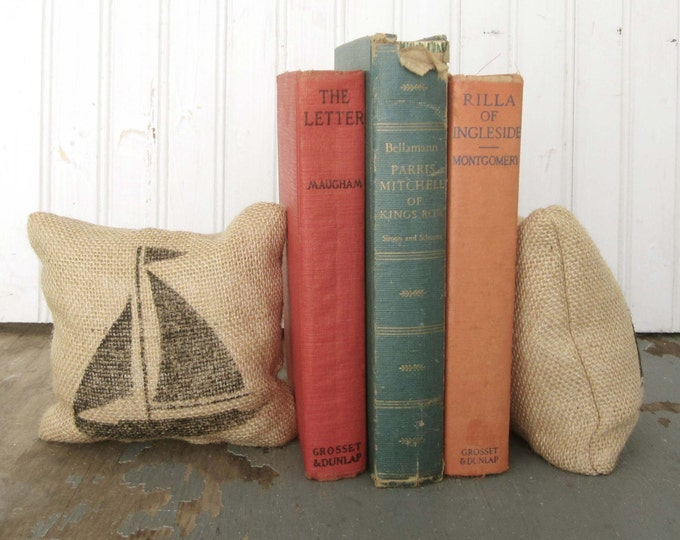 Sail Away - Sailboat- Petit Feed Sack Pillow Pair - Unique paper weight, bookends, pin cushion, etc - Nautical Decor - Sailboat Bookends