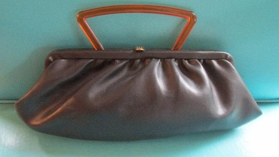 40s Purse Handbag Black Pleather or Leather Deco Brass Clasp Soft Rubbery Bag Tortoise Lucite Handle Mid Century Evening Handbag