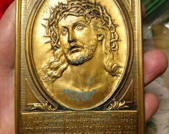 Antique Vintage Passion of Christ Crown of Thorns Metal Plaque Oratory Prayer Shrine Art Deco Rustic Worn Gothic