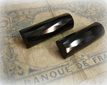 pair antique jet glass sew ons long faceted jet black glass bars brass shanks matching pair