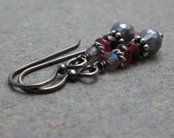 Mystic Labradorite Earrings Pink Tourmaline Earrings Oxidized Sterling Silver Earrings Gemstone Earrings Gift for Her