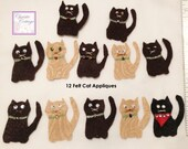 Cat Appliques, Handmade, Set of 12, Card or tag embellishments