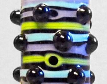Turple & Green Bubble Dot Barrel--Handmade Lampwork Glass Bead