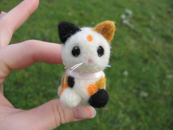 Needle Felted Calico Kitty Cat Patches