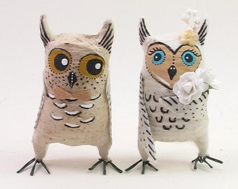 Vintage Style Spun Cotton Owls in Love Wedding Figures/Ornaments