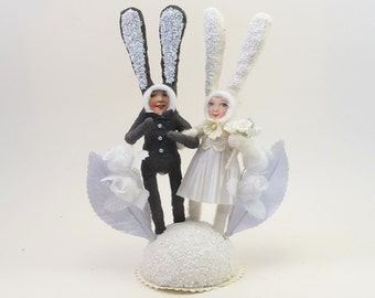 Vintage Inspired Spun Cotton Happy Bunnies Wedding Cake Topper