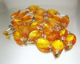 Bright Amber Necklace Lucite Gold Trim
