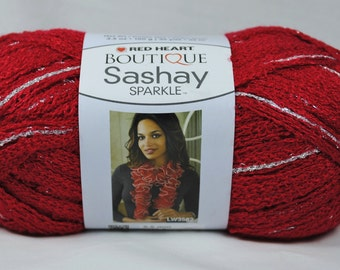 Red Heart Boutique Sashay Sparkle Ruffle Scarf Yarn - Red Hot