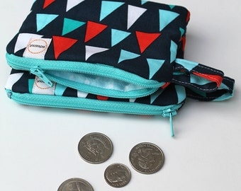 Mini zipper pouch, Nautical coin purse, Teal Aqua padded pouch, Pocket wallet, Gift for girlfriend mom, Bag with wrist strap Navy blue coral