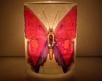 Butterfly Earth Light - candle, candleholder, wings, pink, butterfly candle, Nature inspired, Summer, glass, tea light, home décor, modern