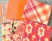 Orange and Pink Cotton Fabric Fat Quarter Bundle Anna Maria Hornet Amy Butler Tula Pink Joel Dewberry Denise Schmidt Moda Dots 2 yards total