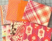 SALE Orange and Pink Cotton Fabric Fat Quarter Bundle Anna Maria Hornet Amy Butler Tula Pink Joel Dewberry Denise Schmidt Moda Dots 2 yards