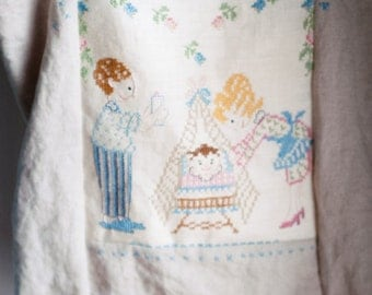 Quirky Linen Tote Bag for Baby Featuring Vintage Happy Family Embroidery