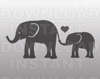 Elephant Mom and Baby SVG File,Elephants SVG File,Baby Nursery SVG-Vector Cut File for Commercial & Personal Use for Cricut,Cameo,Silhouette