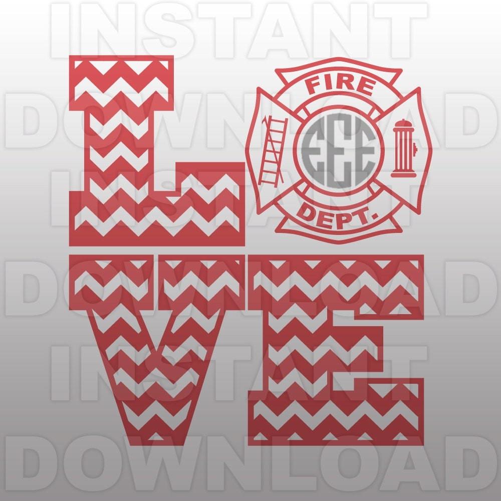 Download LOVE Firefighter Wife SVG File Fireman Girlfirend SVG