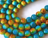 Aqua and Butterscotch Beads,  8mm Round Glass Beads, Two Tone Beads, 50 Beads