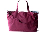 waxed canvas tote - The Porter in Deep Magenta