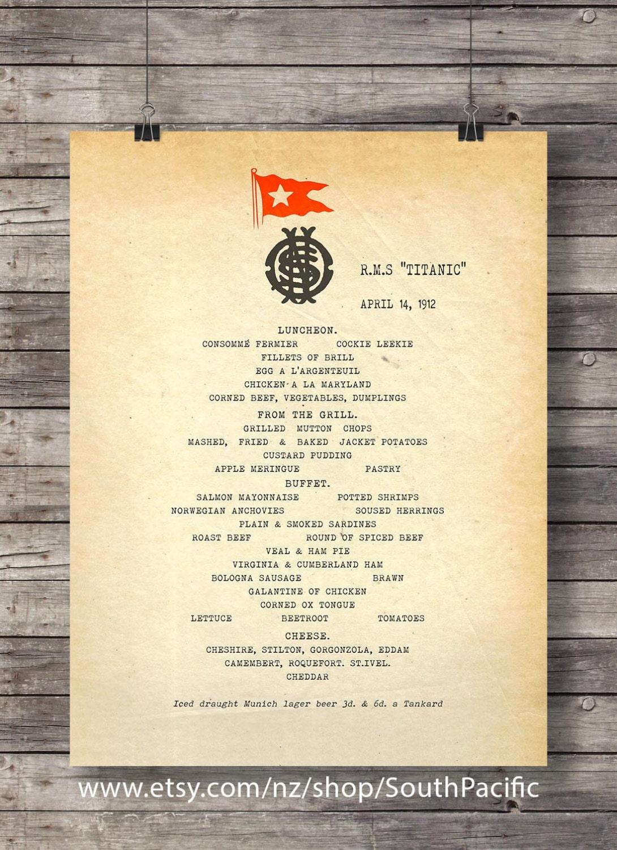 Titanic Lunch Menu Reproduction Vintage Menu Art Print