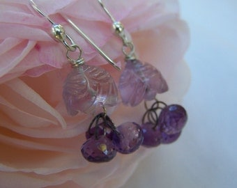 Reserved. ..Amethyst cap, amethyst briolette, sterling silver French earwire earrings