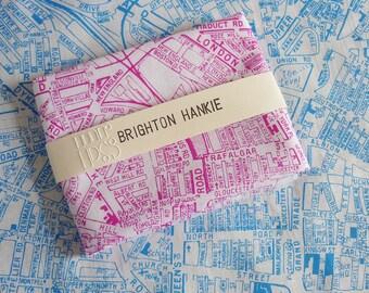 Brighton Hankie screen printed vintage map handkerchief