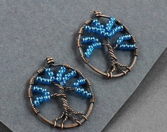 Summer Sale - 30% off - Tree of Life Earrings - Copper and Blue Glass - CLEARANCE