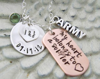 army necklace, personalized necklace-my heart belongs to a soldier, military necklace