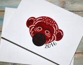 chinese new year, year of the monkey, 2016 - set of 10 cards with envelopes