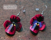 Upcycled earrings, spring flowers, summer celebrations, flower earrings, pansies, bike inner tubes,  jewelry for her, hand painted, #217