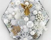 Half Off Sale Hand Mirror - Snow Angel - Repurposed Jewelry - M000999