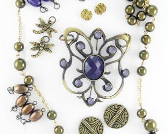Jewelry Crafting Kit - Beads - Pendant - Bronze and Purple