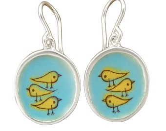 Bird Earrings - Sterling Silver and Vitreous Enamel Bird Earrings