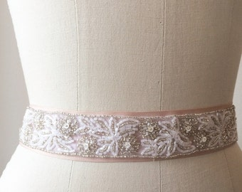 Vintage Trim Beaded Bridal Belt on Rose Ribbon