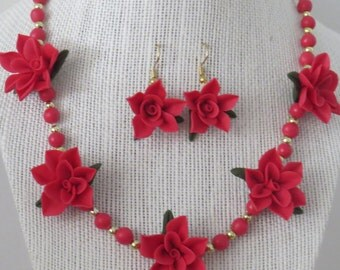 """18"""" Cold Porcelain Necklace and Earring Set"""