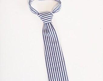 Little Prince Tie- Navy Stripes- 1st Birthday Boy