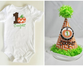 Little Pumpkin 1st Birthday Shirt Bodysuit & Party Hat Set- Personalized Baby Boy