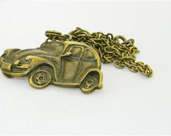 Antique bronze beetle charm necklace, car, vehicle, Herbie, the love bug, fun, jewelry