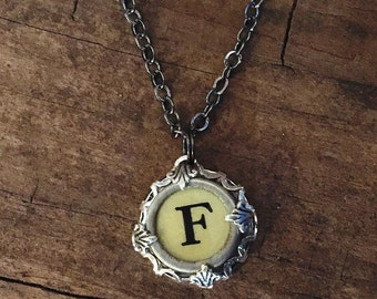Typewriter Key Necklace Jewelry Letter F Initial Keepsake for Bridesmaid, Teacher, Writer Gift, New Mom