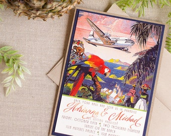 Tropical Destination Wedding Invitation Vintage Travel Poster Palm Trees Parrot Vintage Airplane