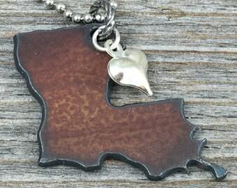 LOUISIANA Necklace SMALL, Louisiana Jewelry, Rustic Necklace, State Necklace, Marti Gras Necklace, New Orleans Necklace, New Orleans Jewelry