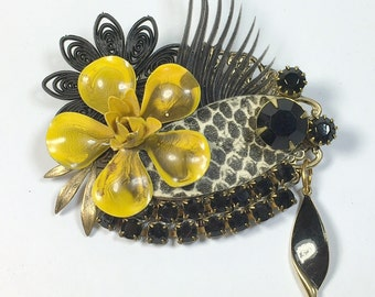Sassy Vintage Upcycled Collage Brooch Snake Black Rhinestone Pin Pendant