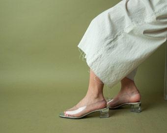 clear sandals / vinyl slingback sandals / vintage clear shoes / 10 M / B3