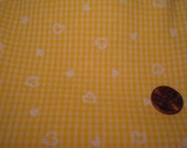 QUARTER YARD vintage fabric FLOCKED yellow hearts tiny doll dress making