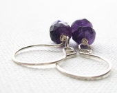 Purple Amethyst Faceted Rondelle Sterling Silver Artisan Ear Wire Earrings UK Seller Contemporary Semi Precious Stone Earrings